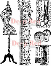 Deep Red Rubber Cling Stamp Sewing Kit tape Measure Scissors Buttons