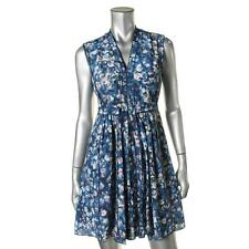 Rebecca Taylor 0307 Womens Blue Silk Floral Print Sleeveless Casual Dress 2 BHFO