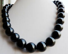 12mm Black Agate Onyx Gemstone Round Ball Beads Necklace 18''AA