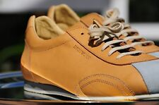 New Emporio Armany mans Beige Leather Shoes Statement Sneakers Lace Up size 9.5