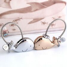 New Whale Men & Women Couple 2 Keychains Key Chain Ring Stainless Steel Magnetic