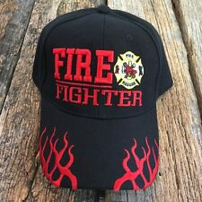 Black  Fire Fighter Ed Department Fighters Emblem Embroidered Hat Cap -T