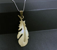 Fashion Golden Feather Silver 316L Stainless Steel Titanium Pendant Necklace