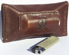 Brown Leather Tobacco Pouch - Handmade Cigarette case 50 grams AUSTRALIAN MADE