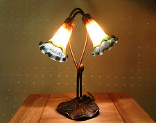 ART DECO 2L LILY TABLE LAMP IN ANTIQUE BRASS FINISH + GREEN/AMBER GLASS SHADES