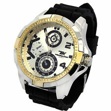 Mens Techno King 2Tone Metal Case Black Silicone Band Fashion Quartz Wrist watch