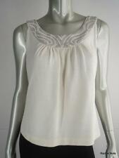 NWT $695 ST JOHN EVENING S White Knit Luxury Silver Crystals Pearl Neck Top NEW