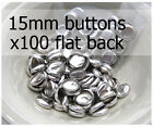 15mm self cover metal BUTTONS FLAT backs (sz 24) 100 QTY + FREE instructions