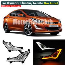 LED Daytime Running Light Fog DRL For Hyundai Elantra Turn Signal + Projector