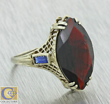 1920s Antique Art Deco 14k Solid Gold 4.50ct Marquise Garnet Sapphire Ring