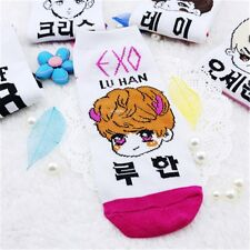 Hot Kpop EXO LUHAN Star Warm Sockings Cotton Cartoon Embroidery Kawaii Socks New