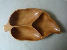coupelle à apéro en bois exotique, en forme de feuille, vintage années 70