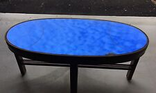 Antique Art Deco Cobalt Blue Mirror Glass Oval Coffee Table, Cocktail Bar Stand