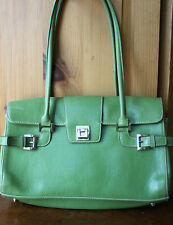 Green Faux Leather Silver Tone Adjustable Ladies Shoulder Bag Purse