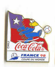 1998 WORLD CUP COCA COLA CHILE FLAG PIN CARRIED BY MASCOT FOOTIX NEW IN BAGS