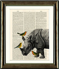 Old Antique Book page Art Print - Rhino and Birds Dictionary Page Wall Art