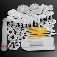 46Pcs Sugarcraft Fondant Cake Decorating Icing Plunger Cutters Tools Mold Mould