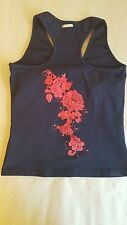EUC EXTRA SMALL BLUEFISH BLACK SPORTS TANK TOP RED APPLIQUE ON BACK