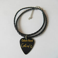 "5SOS CALUM HOOD Guitar Picks signature gold stamped 20"" leather NECKLACE"