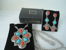 BOLD BIG CHUNKY! US AVON AMERICAN SPIRIT long Necklace Earrings JEWELRY SET 1992