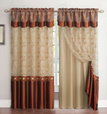 "All-in-One Cinnamon and Gold Window Curtain Drapery Panel Double-Layer 55"" x 90"""