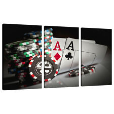 Set of 3 Black White Wall Pictures Split Canvas Art Prints Poker 3048
