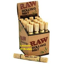 Display of 24 New RAW All Natural Bamboo Cigarette Rolling Mat Roller Wholesale