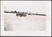 Vintage Car Photo 1936 Ford Ice Fishing in Winter Snow 673393