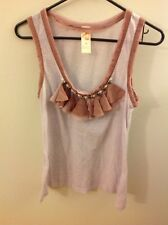 C. Keer Anthropologie Pink Tank Top With Jeweled & Ruffled Neck, Size Medium