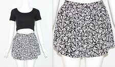 Vintage Retro 90's RE-MADE Black White FLORAL DITSY CUTE HIGH WAIST Shorts Small