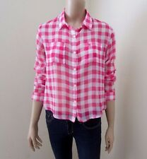 NWT Abercrombie Womens Sheer Crop Top Size XS Shirt Plaid Chiffon Blouse Pink