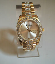 GOLD FINISH CLEAR CRYSTAL  TECHNO HIP HOP BLING  WATCH
