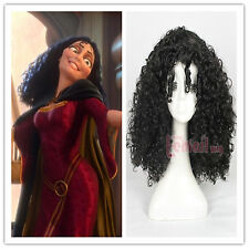 Tangled Mother Gothel 50cm Long Black Curly Wave Party Cosplay Wig C49+Cap
