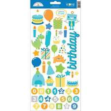 NEW DOODLEBUG DESIGNS HIP HIP HOORAY ICON CARDSTOCK STICKERS
