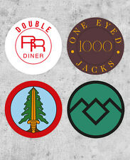 4 Twin Peaks Stickers! Bookhouse Boys, one eyed jacks, Double RR Diner, tv prop,