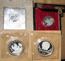 1993 CHINA(PRC) $10 Yr. Rooster Proof Lunar 32mm 1oz SILVER coin with COA & BOX