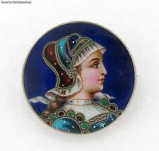 Antique Victorian Enamel Sterling Silver Womans Portrait Brooch