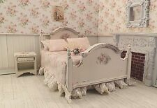 Dollhouse Miniature Shabby Chic Dressed Bed & Night Stand Bedroom Furniture