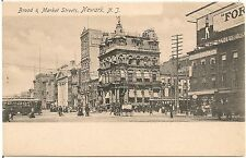 View on Broad and Market Streets in Newark NJ Postcard Rotograph