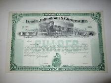 Old c.1900 - Fonda Johnstown Gloversville - RAILROAD Co. - Stock Certificate