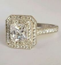 2 Carat 14k white Gold Halo Princess Cut created diamonds Engagement ring S 6.5