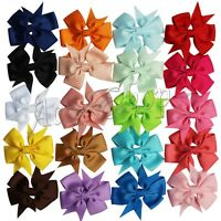 20pcs Hair Bow Boutique Girl Baby Grosgrain Ribbon Alligator Clips Headband