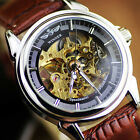 Army Sport Leather Skeleton Auto Self-winding Mechanical Mens Wrist Watch OL