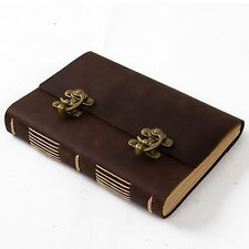 Ancicraft Leather Journal Diary with Cool Lock A5 Lined Craft Paper Brown Retro