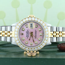 Rolex Datejust Ladies 2-Tone Gold/Steel 26mm Watch Pink MOP Diamond Dial/Bezel
