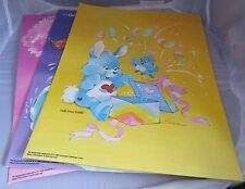 3 Vintage Care Bears Cousin 1985 Mead School folders - Lion, Penguin, Rabbit