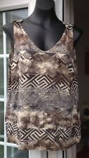 CANDA VINTAGE MULTI COLOUR PATTERNED SLEEVELESS TOP - SIZE XL