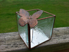 Antique Beveled Frosted Glass Brass Mirror Display Box Perched Butterfly Signed
