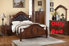 Button Tuft Headboard 1 Piece Est King Size Bed For Bedroom Cherry Wood Finish