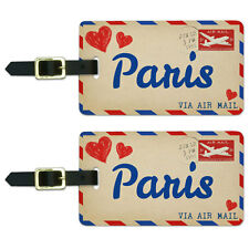 Air Mail Postcard Love for Paris Luggage Suitcase Carry-On ID Tags Set of 2
